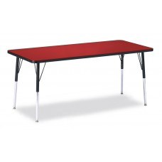 """Berries® Rectangle Activity Table - 30"""" X 72"""", A-height - Red/Black/Black"""