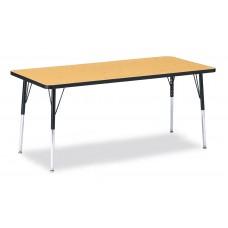 "Berries® Rectangle Activity Table - 30"" X 72"", A-height - Oak/Black/Black"