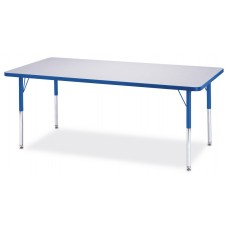 """Berries® Rectangle Activity Table - 30"""" X 72"""", E-height - Gray/Blue/Blue"""