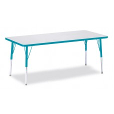 """Berries® Rectangle Activity Table - 30"""" X 72"""", E-height - Gray/Teal/Teal"""