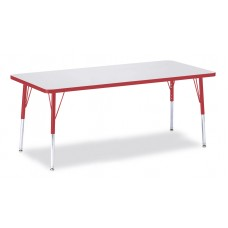 """Berries® Rectangle Activity Table - 30"""" X 72"""", E-height - Gray/Red/Red"""