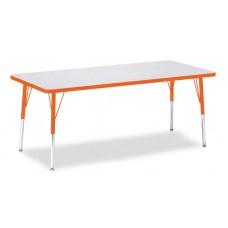 """Berries® Rectangle Activity Table - 30"""" X 72"""", E-height - Gray/Orange/Orange"""