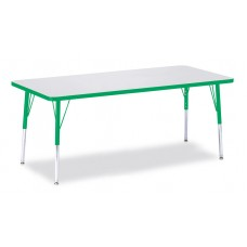 """Berries® Rectangle Activity Table - 30"""" X 72"""", E-height - Gray/Green/Green"""