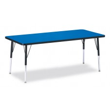 """Berries® Rectangle Activity Table - 30"""" X 72"""", E-height - Blue/Black/Black"""