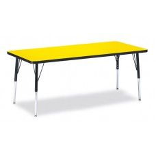 """Berries® Rectangle Activity Table - 30"""" X 72"""", E-height - Yellow/Black/Black"""