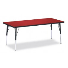 """Berries® Rectangle Activity Table - 30"""" X 72"""", E-height - Red/Black/Black"""