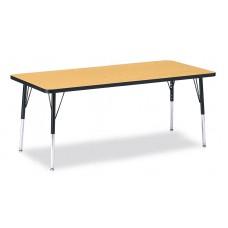 "Berries® Rectangle Activity Table - 30"" X 72"", E-height - Oak/Black/Black"
