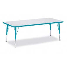 """Berries® Rectangle Activity Table - 30"""" X 72"""", T-height - Gray/Teal/Teal"""