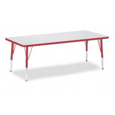 """Berries® Rectangle Activity Table - 30"""" X 72"""", T-height - Gray/Red/Red"""