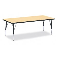 """Berries® Rectangle Activity Table - 30"""" X 72"""", T-height - Maple/Black/Black"""