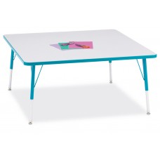 """Berries® Square Activity Table - 48"""" X 48"""", A-height - Gray/Teal/Teal"""