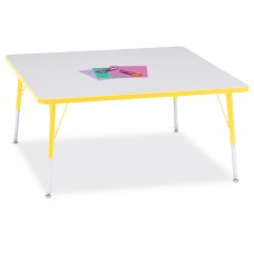"""Berries® Square Activity Table - 48"""" X 48"""", A-height - Gray/Yellow/Yellow"""