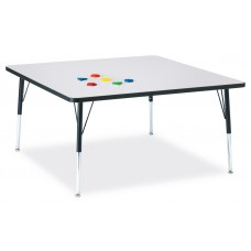 """Berries® Square Activity Table - 48"""" X 48"""", A-height - Gray/Black/Black"""