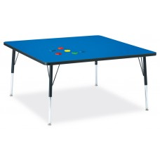 """Berries® Square Activity Table - 48"""" X 48"""", A-height - Blue/Black/Black"""
