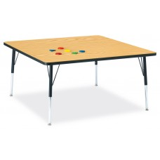 """Berries® Square Activity Table - 48"""" X 48"""", A-height - Oak/Black/Black"""