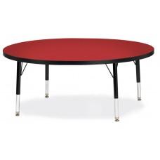 "Berries® Round Activity Table - 48"" Diameter, T-height - Red/Black/Black"