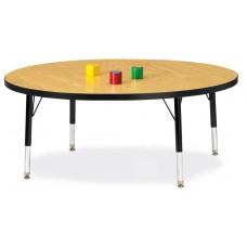 "Berries® Round Activity Table - 48"" Diameter, T-height - Oak/Black/Black"