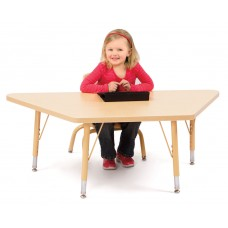 """Berries® Trapezoid Activity Tables - 30"""" X 60"""", T-height - Maple/Maple/Camel"""