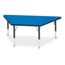 """Berries® Trapezoid Activity Tables - 30"""" X 60"""", T-height - Blue/Black/Black"""