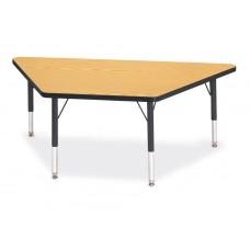 "Berries® Trapezoid Activity Tables - 30"" X 60"", T-height - Oak/Black/Black"