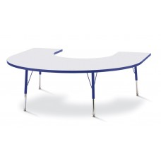 """Berries® Horseshoe Activity Table - 66"""" X 60"""", A-height - Gray/Blue/Blue"""
