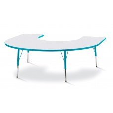 """Berries® Horseshoe Activity Table - 66"""" X 60"""", A-height - Gray/Teal/Teal"""