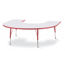 """Berries® Horseshoe Activity Table - 66"""" X 60"""", A-height - Gray/Red/Red"""