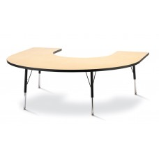 """Berries® Horseshoe Activity Table - 66"""" X 60"""", A-height - Maple/Black/Black"""