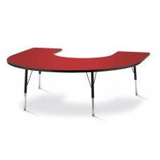 """Berries® Horseshoe Activity Table - 66"""" X 60"""", A-height - Red/Black/Black"""