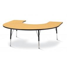 "Berries® Horseshoe Activity Table - 66"" X 60"", A-height - Oak/Black/Black"