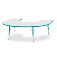 """Berries® Horseshoe Activity Table - 66"""" X 60"""", E-height - Gray/Teal/Teal"""
