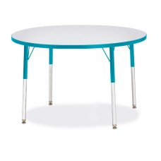 """Berries® Round Activity Table - 42"""" Diameter, A-height - Gray/Teal/Teal"""