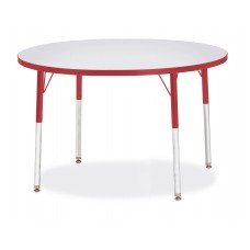 """Berries® Round Activity Table - 42"""" Diameter, A-height - Gray/Red/Red"""