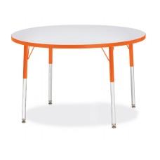 "Berries® Round Activity Table - 42"" Diameter, A-height - Gray/Orange/Orange"