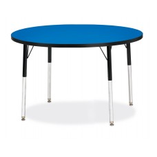"""Berries® Round Activity Table - 42"""" Diameter, A-height - Blue/Black/Black"""