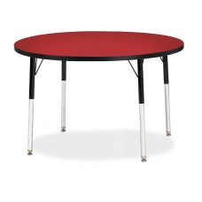 """Berries® Round Activity Table - 42"""" Diameter, A-height - Red/Black/Black"""