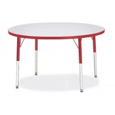 """Berries® Round Activity Table - 42"""" Diameter, E-height - Gray/Red/Red"""