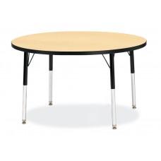 "Berries® Round Activity Table - 42"" Diameter, E-height - Maple/Black/Black"