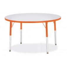"Berries® Round Activity Table - 42"" Diameter, E-height - Gray/Orange/Orange"