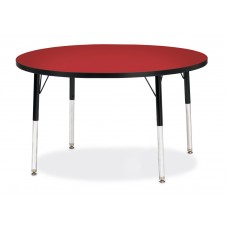 """Berries® Round Activity Table - 42"""" Diameter, E-height - Red/Black/Black"""