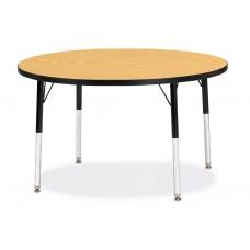 "Berries® Round Activity Table - 42"" Diameter, E-height - Oak/Black/Black"