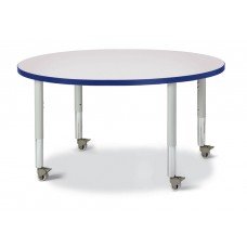 """Berries® Round Activity Table - 42"""" Diameter, Mobile - Gray/Blue/Gray"""