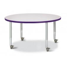 "Berries® Round Activity Table - 42"" Diameter, Mobile - Gray/Purple/Gray"