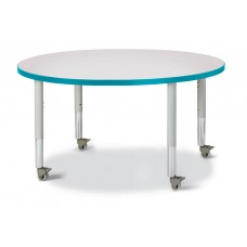 """Berries® Round Activity Table - 42"""" Diameter, Mobile - Gray/Teal/Gray"""