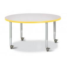 "Berries® Round Activity Table - 42"" Diameter, Mobile - Gray/Yellow/Gray"