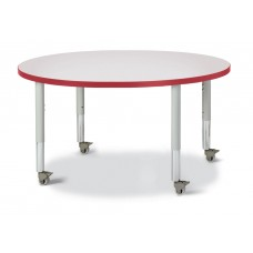 """Berries® Round Activity Table - 42"""" Diameter, Mobile - Gray/Red/Gray"""