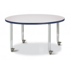 "Berries® Round Activity Table - 42"" Diameter, Mobile - Gray/Navy/Gray"