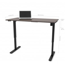 "Bestar 30"" x 60"" Electric Height adjustable table in Bark Gray"