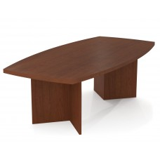 """BESTAR boat shaped conference table with 1 3/4"""" melamine top in Bordeaux"""