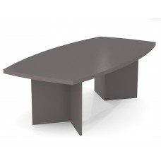 """BESTAR boat shaped conference table with 1 3/4"""" melamine top in Slate"""